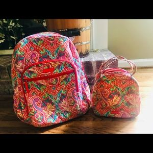 Vera Bradley Book-bag backpack lunch tote set